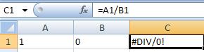 Excel-Problem #DIV/0!