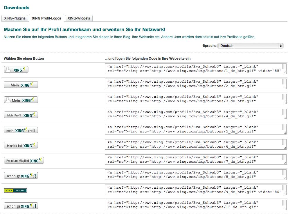 Auswahl an XING-Buttons und Logos mit Quellcode