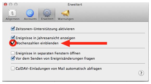 Einstellung der Kalenderwochen bei Mac OS X 10.8 Mountain Lion